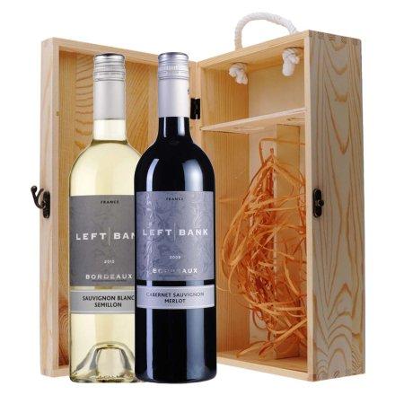 法国左岸•康伯城堡干红+干白葡萄酒双支松木礼盒