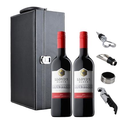 澳大利亚泰瑞芬劳埃德系列赤霞珠干红葡萄酒750ml*2+黑色双支皮盒