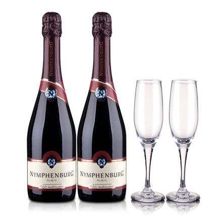 德国侬芬堡红宝石起泡葡萄酒750ml(双瓶套装)+2支酒杯