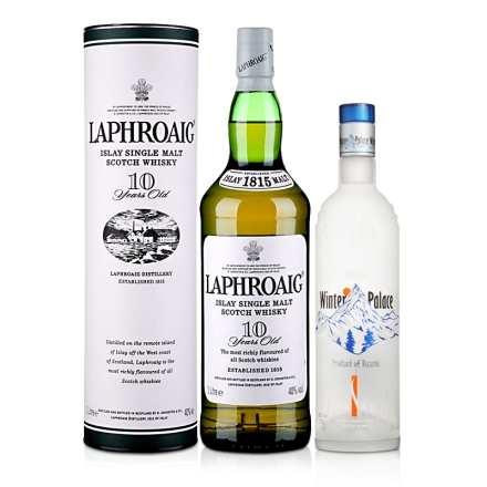 40°拉弗格10年单一麦芽威士忌1000ml+40°俄罗斯冬季宫殿伏特加750ml
