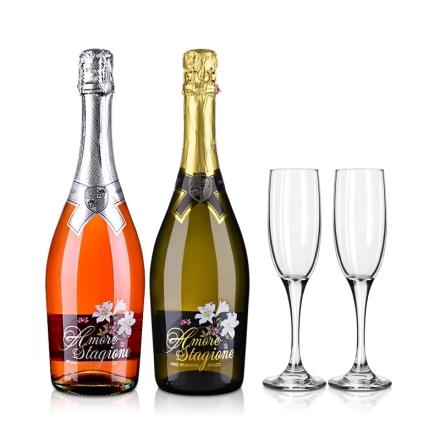 意大利恋爱季桃红+甜白甜型高泡起泡酒+2支酒杯