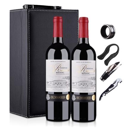 法国梅多克中级庄 李寇特庄园2009干红葡萄酒750ml+集美红酒包装盒皮盒双支装(乐享)