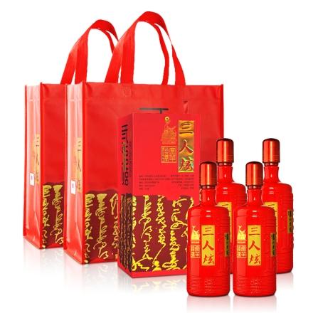 52°泸州老窖三人炫(贺岁版)1000ml(4瓶装)+泸州老窖三人炫(贺岁版)手提袋*2