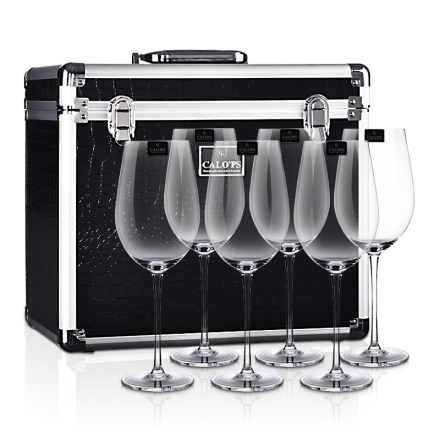 凯洛诗晶尊6支水晶杯鳄鱼皮手提箱套装