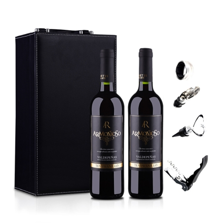 西班牙和谐庄园干红葡萄酒双支皮盒750ml*2