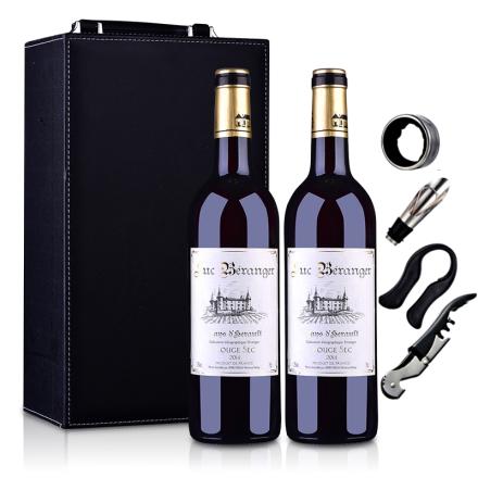 法国原瓶进口吕克贝朗杰2014干红葡萄酒750ml双支皮盒装
