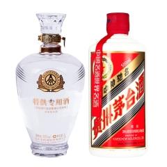 52°五粮液股份定制酒(2008年)1000ml+53°茅台五星(2012年)500ml